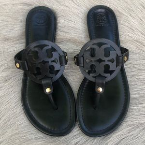 Tory Burch Miller Black Matte Leather Sandals 9